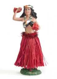 Hula Girl Shaky Doll with Red Skirt