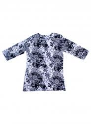 Blue Opihi Floral Vine Tunic