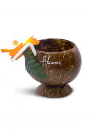 Real Coconut Cup with Straw - Orange