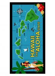 Hawaiian Map Beach Towel