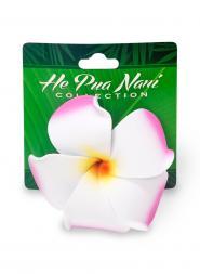 Plumeria Hair Clip - Pink/White